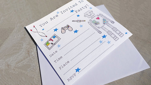 10 x Boys Robot Party Invitations