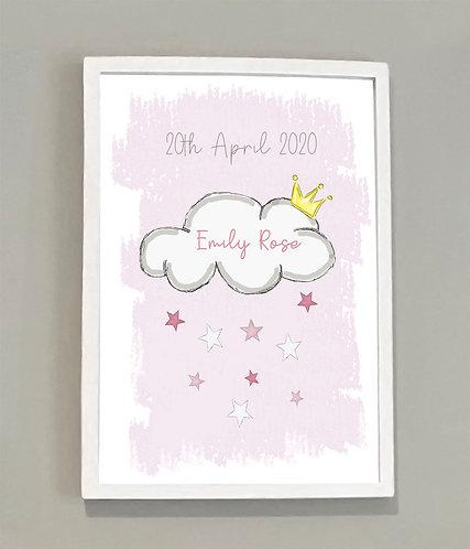 A4 Girls Personalised Cloud Print