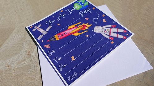 10 x Boys Space Party invitations