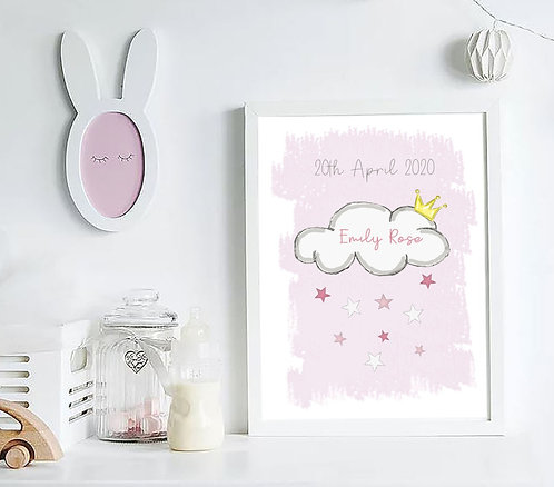 A4 Girls Personalised Cloud Print