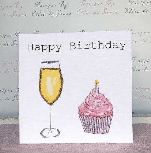 Prosecco & Cupcake Card