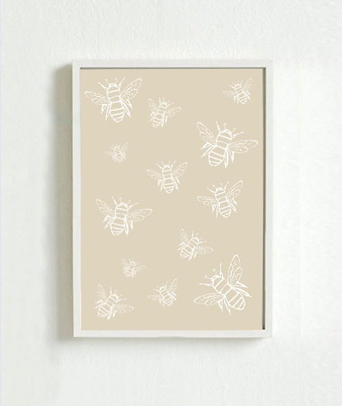 Neutral Bee Print A4