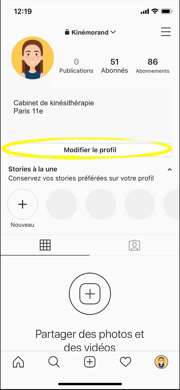 page instagram modifier le profil