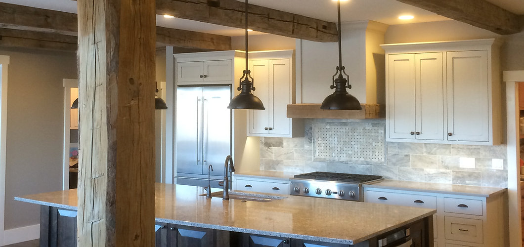 custom kitchen reclaimed beams