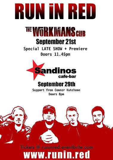 sandinos, workmans club, run in red, rir, offbeat, offbeat graphics, we are offbeat, offbeat dublin, brand, design, artwork, red,