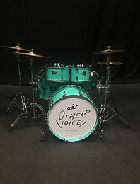Other Voices logo, custom drum skin art, drum decals, drum head printing and design, eir, festival 2017, drumsdrumsdrums