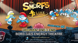 the smurfs, ticketmaster, brd gais theatre, cover photo design , banner image, header image, promo designs , #offbeatgraphicsdublin, irish design