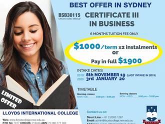 悉尼学校11月特惠--半年商务课程仅$1900&语言班仅$180/周