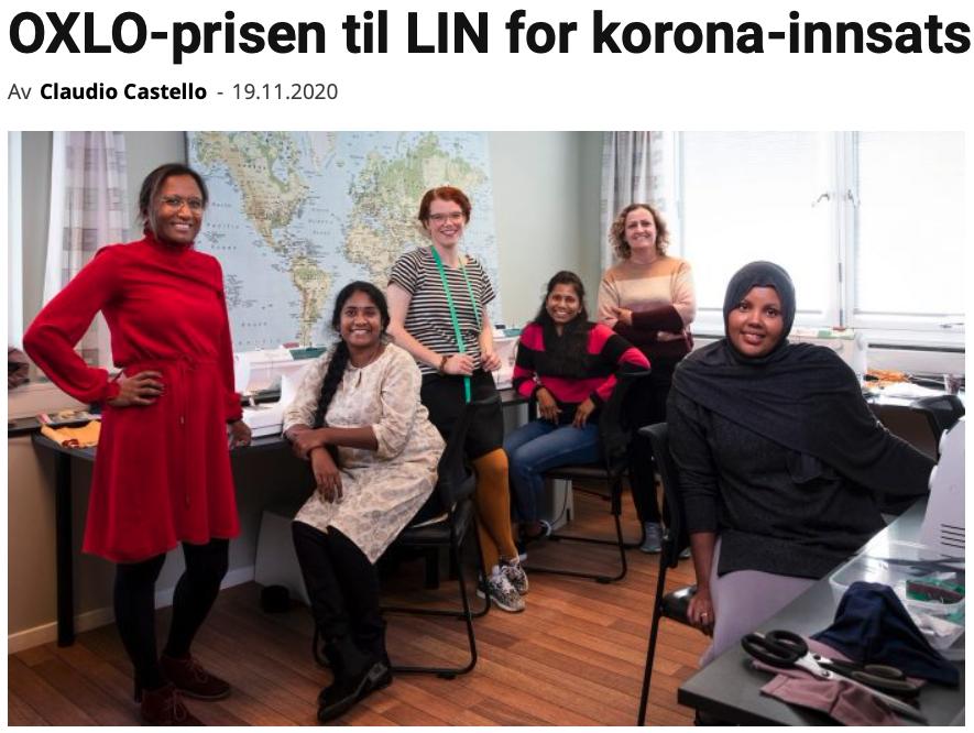 OXLO-prisen til LIN for korona-innsats