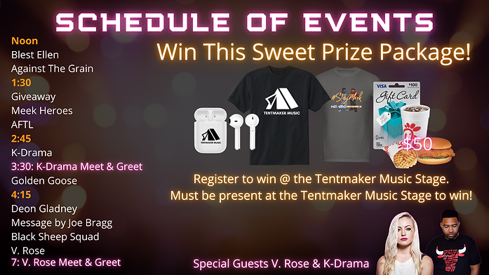 Tentmaker schedule and line up.png