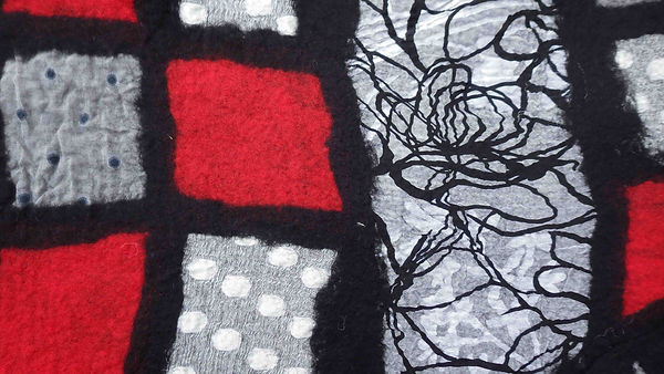 Black with Red Squares Scarf-felt-Hilary