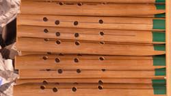 竹の木製エッセンシャルモデルの指穴開け途中のもの