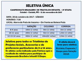 Atenção: Sábado (28/10) seletiva para o Brasileiro Infantil e 05/11 Sprint Duathlon na cidade do Cra