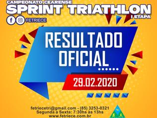 RESULTADO OFICIAL - CAMPEONATO CEARENSE DE SPRINT TRIATHLON - I etapa