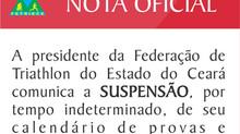 NOTA OFICIAL - SUSPENSÃO DO CALENDÁRIO DE EVENTOS 2021 - FETRIECE.