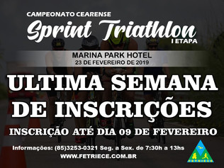 ÚLTIMA SEMANA PARA INSCRIÇÃO DO CAMPEONATO CEARENSE DE SPRINT TRIATHLON - I ETAPA