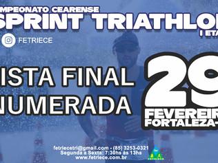 LISTA FINAL / NUMERADA - CAMPEONATO CEARENSE DE SPRINT TRIATHLON - I ETAPA 2020