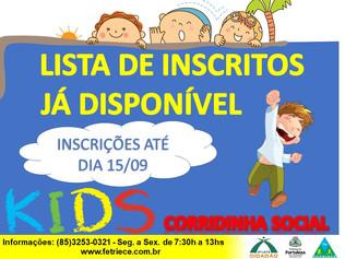 LISTA DE INSCRITOS CORRIDA SOCIAL KIDS - 29/09 MARINA PARK HOTEL