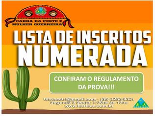 """LISTA FINAL NUMERADA & REGULAMENTO - """"CABRA DA PESTE E MULHER GUERREIRA 2020"""""""