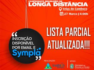 CONFIRA A LISTA PARCIAL DE INSCRITOS DO CAMPEONATO BRASILEIRO DE LONGA DISTÂNCIA