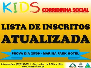 LISTA PARCIAL DE INSCRITOS DA CORRIDA SOCIAL KIDS