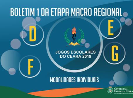 Sejuv divulga Boletim 1 da etapa macro regional D, E, F e G nas modalidades individuais dos Jogos Es