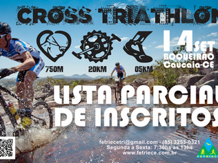 CROSS TRIATHLON 2019 - LISTA PARCIAL DE INSCRITOS