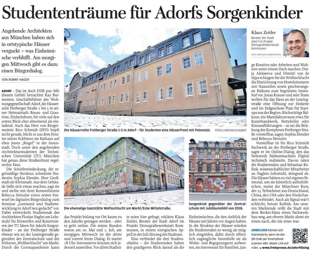 Freie Presse, Oberes Vogtland, 28.07.2020