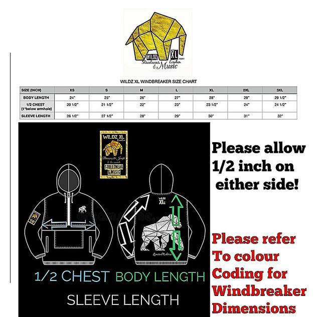 WILDZ XL windbreaker size chart