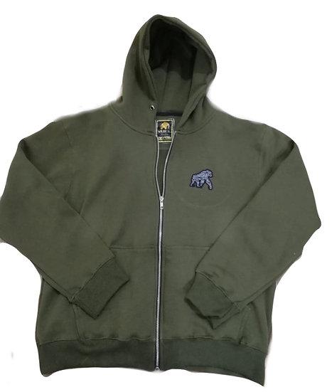 Gorilla Embroidery Zip Hoodie Green
