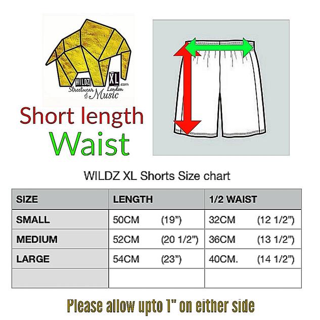 WILDZ XL basketball shorts size chart