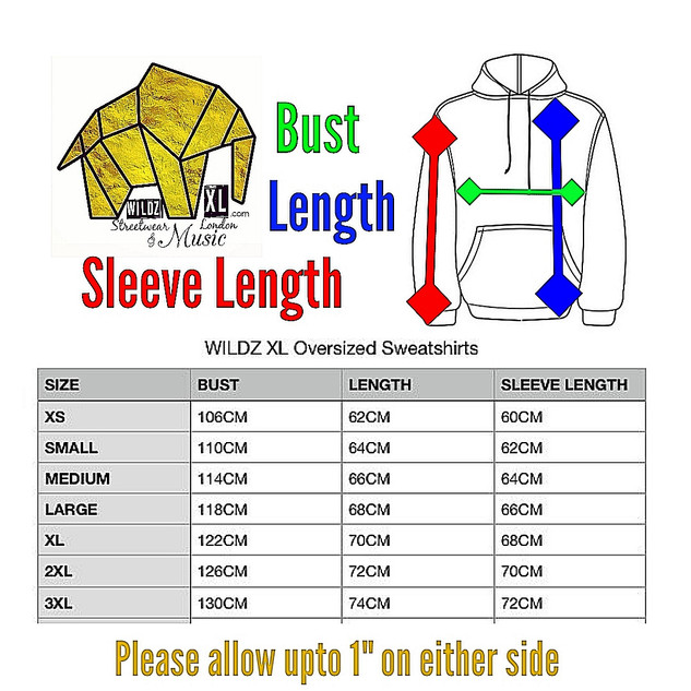 WILDZ XL sweatshirts size chart