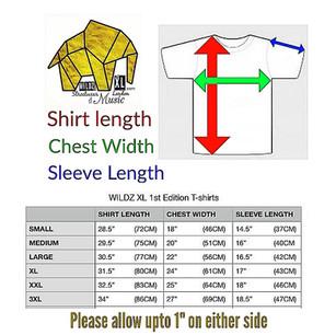 WILDZ XL 1st edition T-shirt size chart