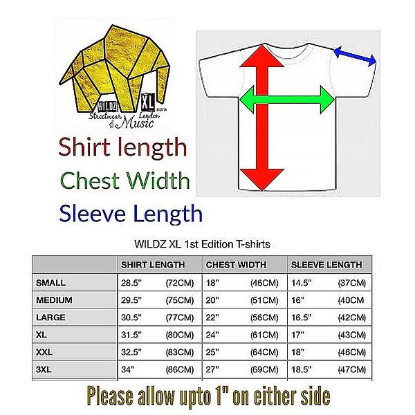 WILDZ XL 1st edition T-shirt size chart.
