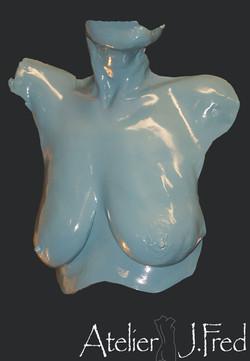 sculpture buste bleu