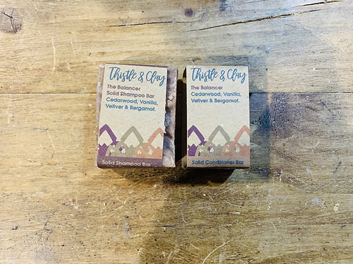The Balancer Organic Solid Shampoo and Conditioner by Thistle & Clay