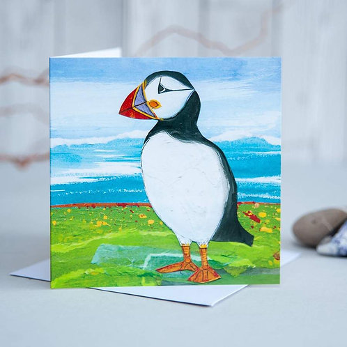 Puffin on Shore Card by Joanne Wishart