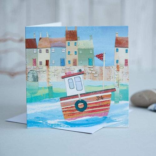 Fishing boat Card by Joanne Wishart