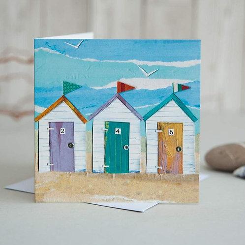 Beach Huts Card by Joanne Wishart