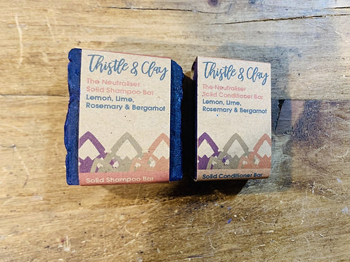 The Neutraliser Organic Shampoo and Conditioner Bar by Thistle and Clay