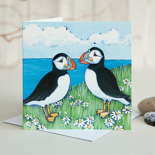 Puffin and Daisies Card by Joanne Wishart