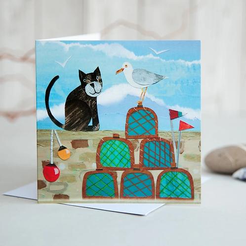 Cat & Lobster Pots Card by Joanne Wishart