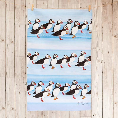 Puffin Tea Towel by Joanne Wishart 100% Cotton and made in Great Britain