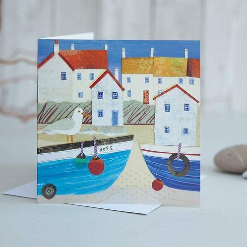 Hope Harbour Boat Card by Joanne Wishart