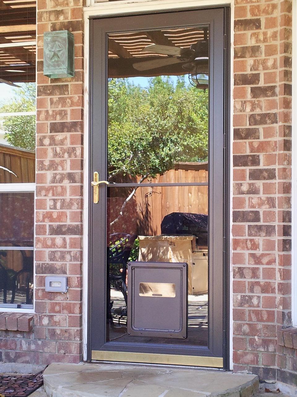 Dog door storm door
