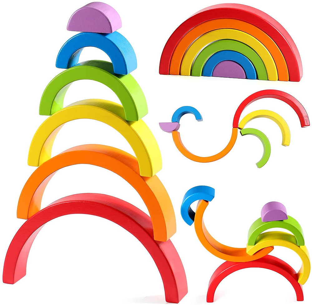 product photo of colorful rainbow stacking blocks