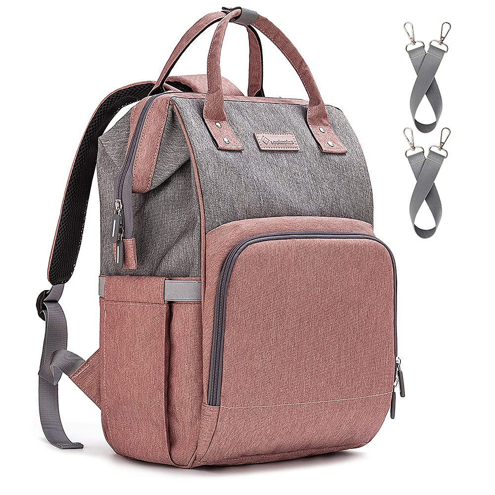 product picture of upsimple diaper backpack in light pink and gray