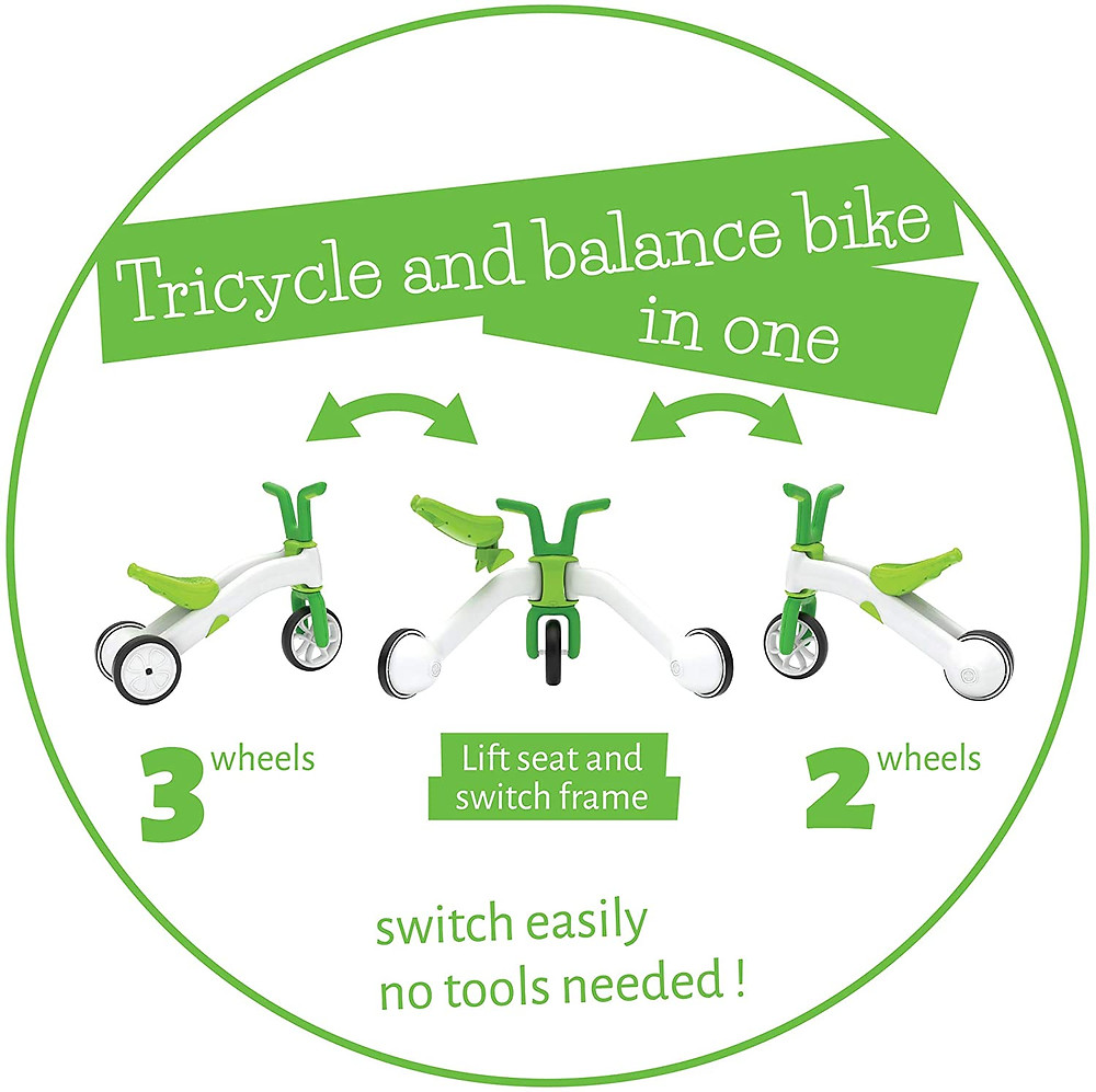 green infographic showing the 3 stages of tricycle balance ike
