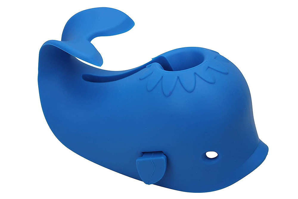 Blue whale-shaped cover for bathtub faucet