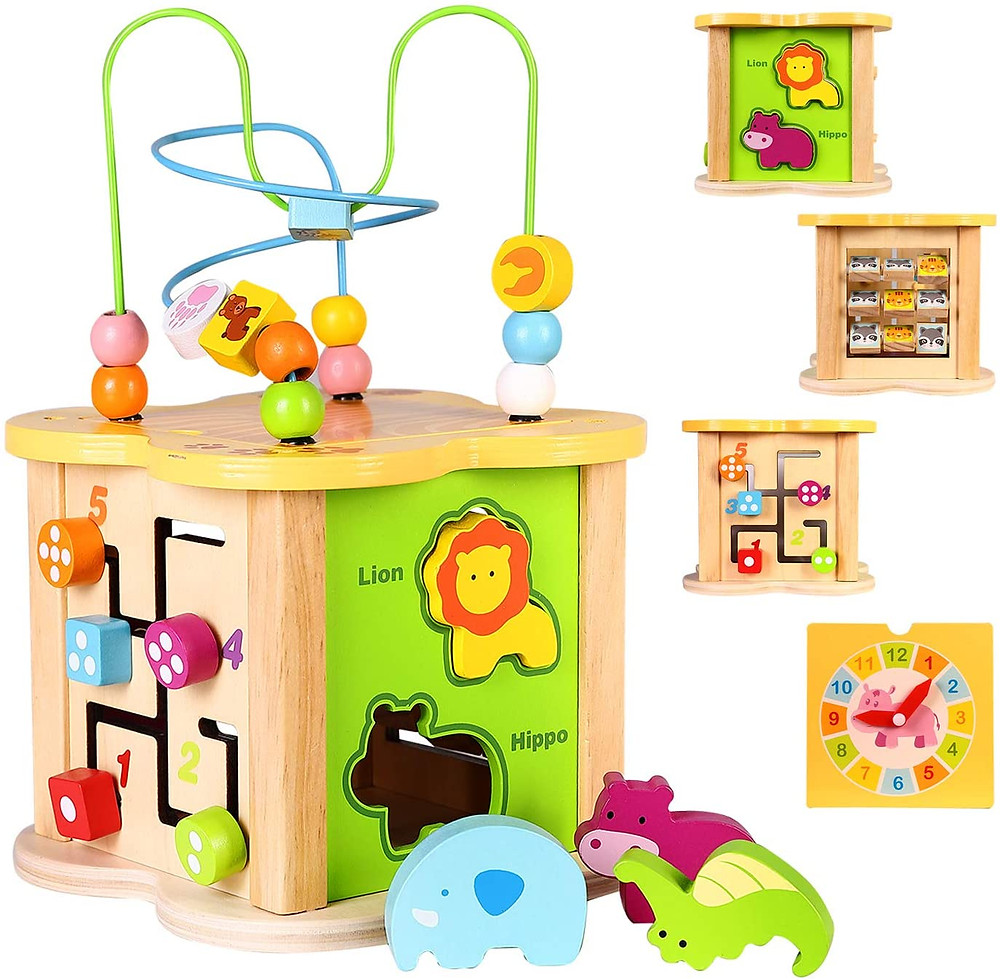 wooden activity center for babies with bead maze and shape puzzles